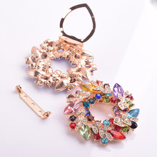 Crystals Flower Silk Scarf Brooches For Women