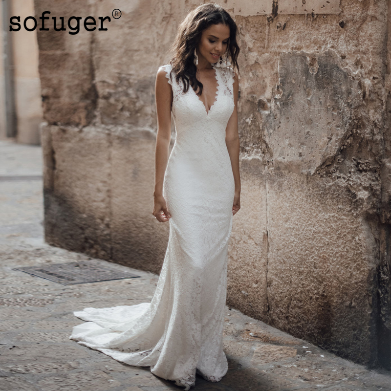 Simple Backless Strap <font><b>Sexy</b></font> Sheath V Neck <font><b>Wedding</b></font> <font><b>Dress</b></font> Sofuge Boho Dubai Arabic Abiti Da Sposa Vestidos De Fiesta De Noche image