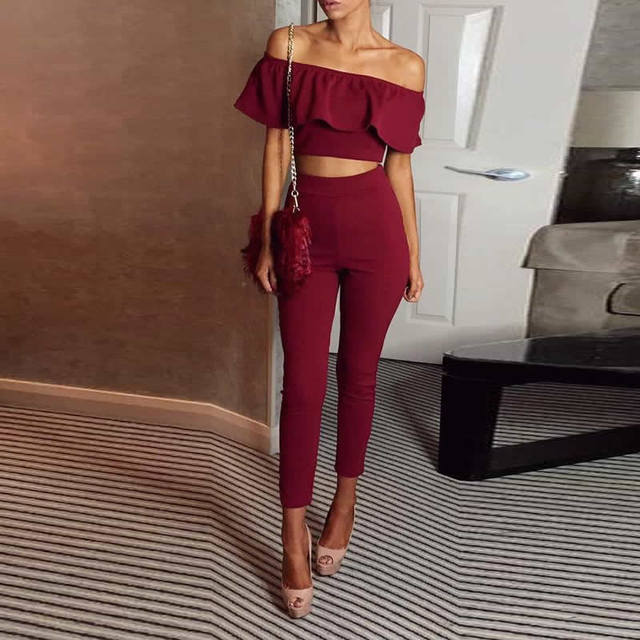 Crop Top Nightclub Set 2017 women Spring Summer Slim 2 Piece Set Women Suit Off Shoulder Ruffles Midriff-baring gray color