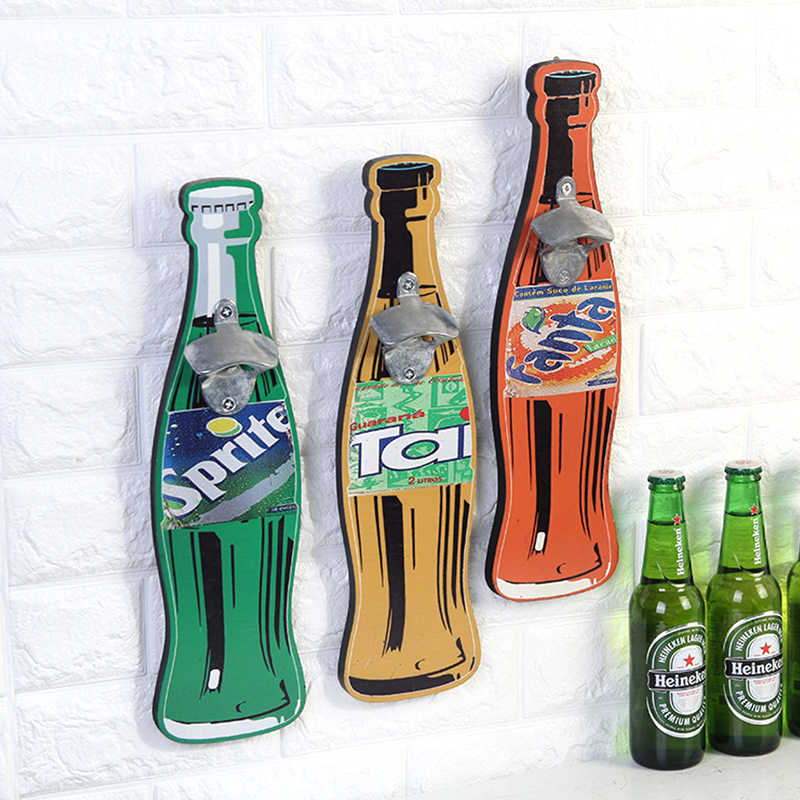 a3c7a6cf1b8dd Wood Iron European style Creative Bottle Opener Sprite Fanta Budweiser  Pattern Opener Wall Hanging Home Decoration