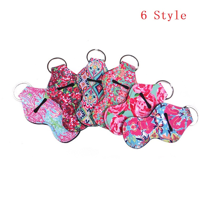500pcs lot fast shipping 6 colors stock Neoprene keychain chapstick holder for sale