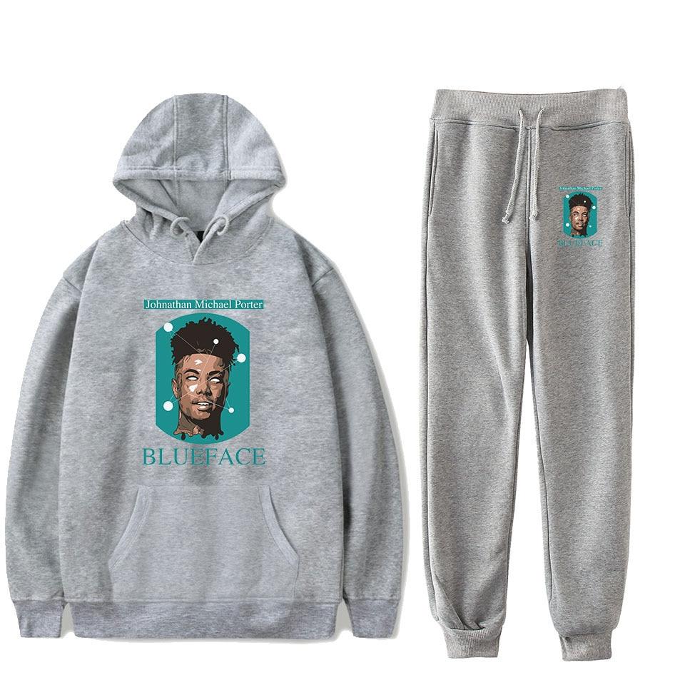 Gray Hoodies Sweatshirts+Recreational Sweatpants New Hot Rapper BlueFace Hoodies Women/Men Autumn Casual Sport And Leisure Suits