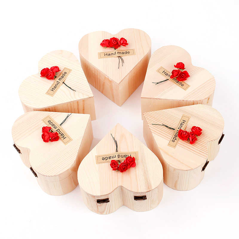 1Set 140g Rainbow Multi-colored Color Rose Flower Petal Soap Wooden Heart Shape Box Party Valentine's Day Gift Skin Bleach TSLM1