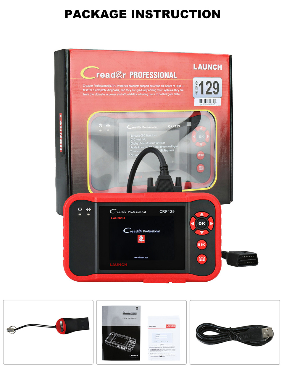 Image 5 - Launch X431 Creader CRP129 Auto Code Reader OBD2 Scanner OBDII Automotive Diagnostic Tool Machine Creader VIII 8 ABS SRS Tools-in Code Readers & Scan Tools from Automobiles & Motorcycles