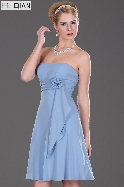 Free Shipping Strapless Empire Knee Length Short Bridesmaid Dress Wedding Party Dress