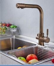 Новое поступление высокое качество латунь материал 360 град. анти-бронза закончил кухонная раковина кран с waterpurifier