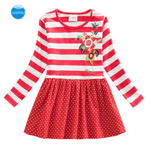 JUXINSU Toddler Girls Long Sleeve Dresses for Kids Baby Autumn Winter Cotton Casual Dress Flower Stripes Girl 1-8 Years