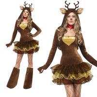 Christmas Deer Cosplay Uniforms Women Reindeer Animal Costume Halloween Costumes For Women 2017