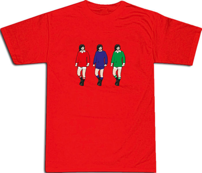 George Best 3 Famous Kits Cool Retro T-SHIRT S-XXL # Red image