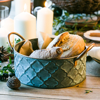 Iron Bread Basket Retro Antique Finish Style Family Storage Basket Fruit Container Fried Chicken Tray With Handle Decoration 1pc