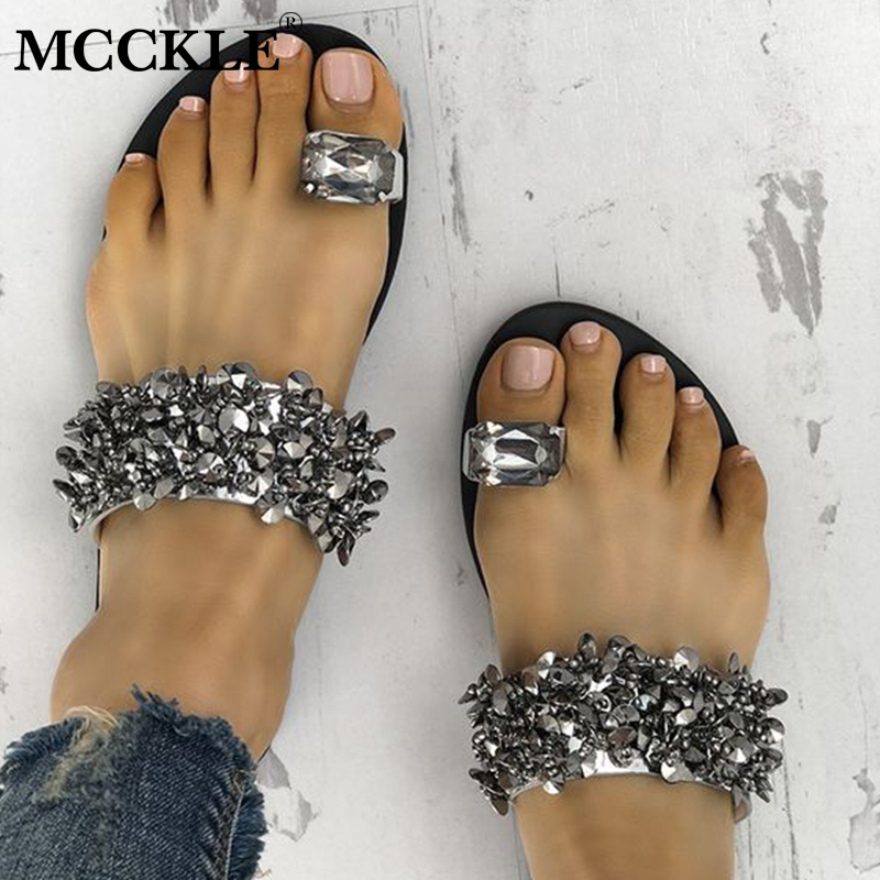 цена MCCKLE Women Casual Summer Flat Slippers Flip Flops Female Crystal Outside Shoes For Girls Comfortable Woman Footwear Leisure