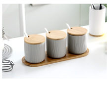 1SET Nordic Household Ceramics Flavor Storage Bottles With Bamboo Rack Seasoning Spice Sugar Salt Jars with Spoon OK 0889