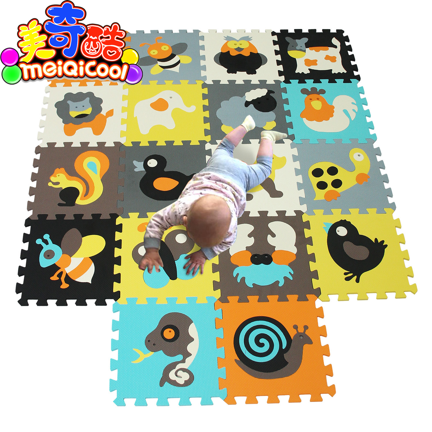 18pcs Cartoon Animal Pattern Carpet EVA Foam Puzzle Mats Kids Floor Puzzles Play Mat For Children Baby Play Gym Crawling Mats rysunek kolorowy motyle
