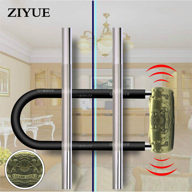 Free Shipping Glass Door Two Door Handle Alarm Lock Extended U