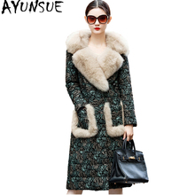 AYUNSUE Women's Down Jackets Real Sheepskin Coat Winter Warm Genuine Leather Jacket Luxury Fox Fur Collar chaqueta mujer WYQ870