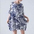 As mulheres Se Vestem 2016 Plus Size Vestidos Bayan Elbise Jurk Tamanho Grande Boho Vestido Floral Verão Vestido De Linho Roupa Feminina Robe