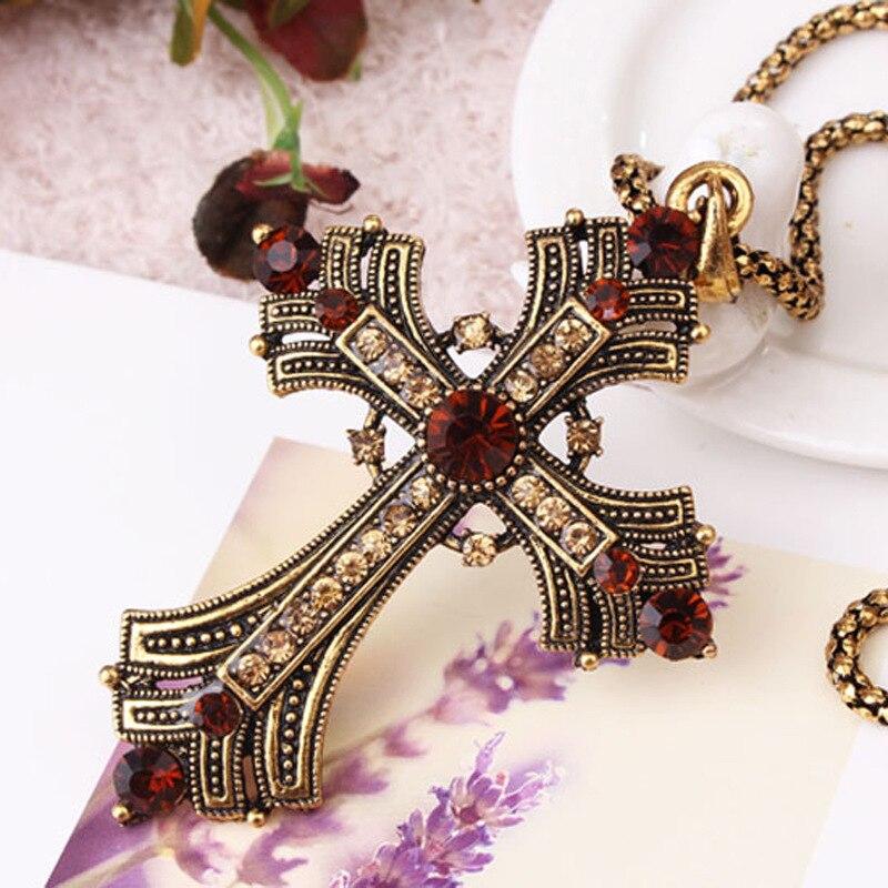 2016 cristal bijou croix collier meilleur ami pendentif pas cher bohème bijoux crucifix colliers femmes collier sautoir long