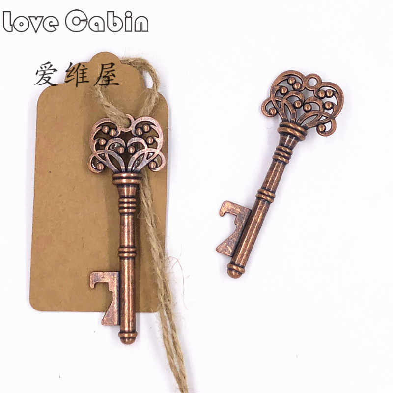 Wedding Gifts for Guests Souvenirs Skeleton Bottle Opener+Tags Party Favors Festive Party Supplies Wedding Decoration 50sets