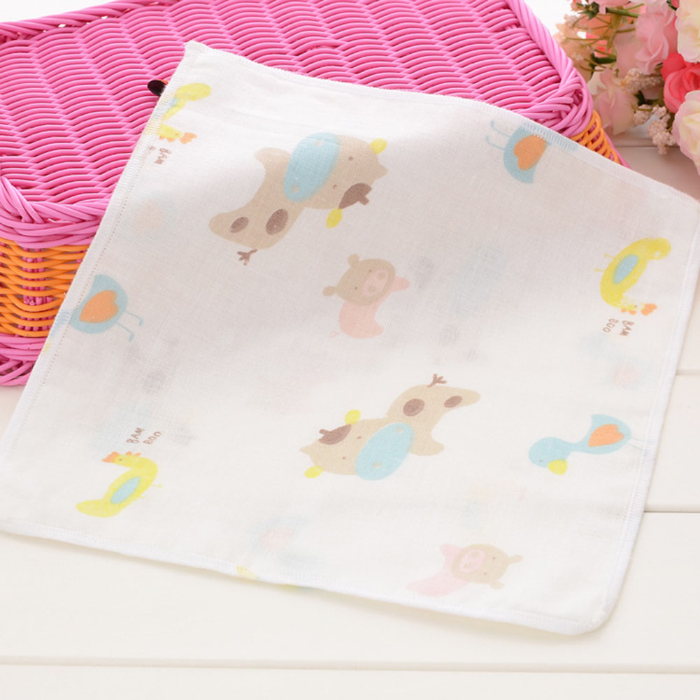 4 Pcs/lot 25*25cm Baby Face Towel High Density 100% Cotton Gauze Cartoon Baby Stuff Square Hand Towel Toalha Infantil