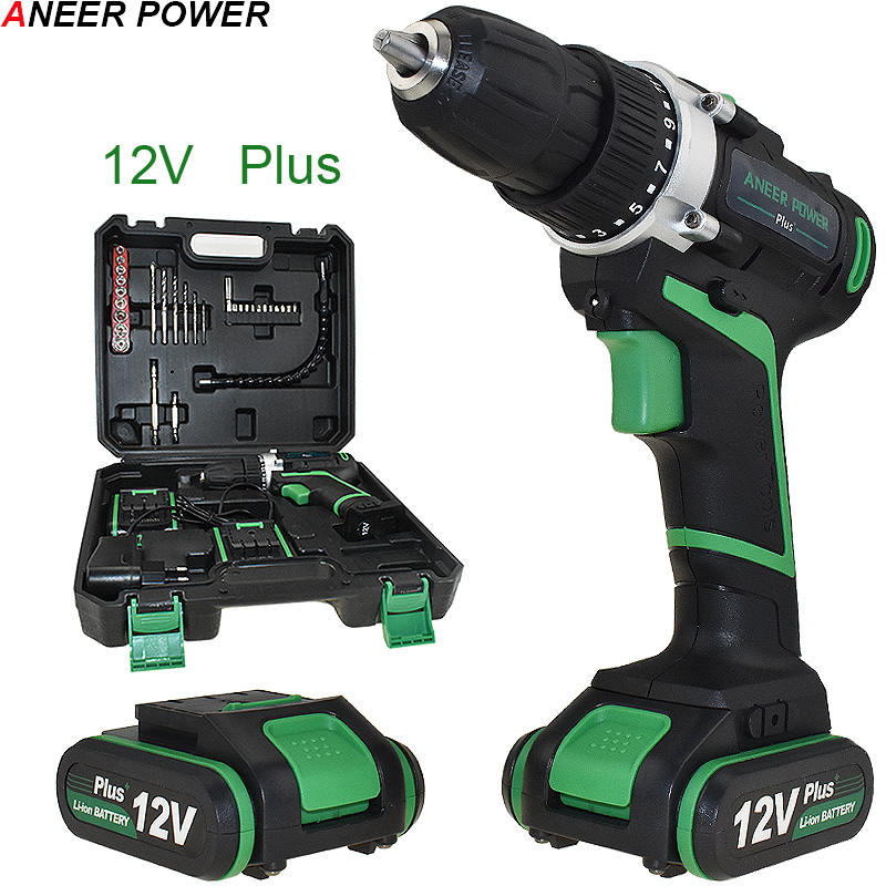 цена на 12v Plus Power Tools Electric Drill 2pcs Batteries Cordless Drill Electric Screwdriver Mini Drill Drilling Battery Screwdriver