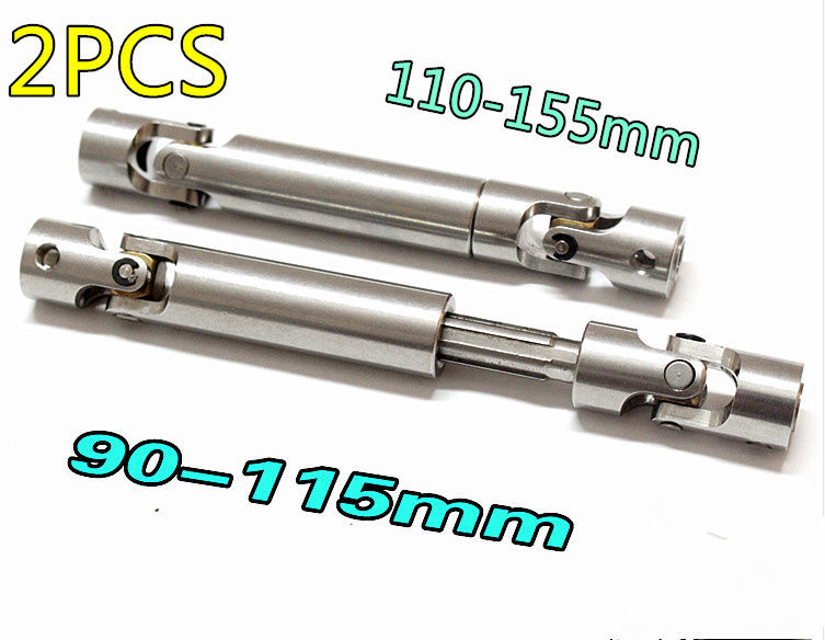 2Pcs RC SCX10 Steel Universal Drive Shaft With CVD90-110mm2pcs 110-155mm2pcs D90 For 1/10 Scale Models RC Car AXIAL Crawler TF2