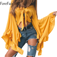 ForeFair Trendy Irregular Long Ruffles Sleeve Crop Top Sexy Lace Up V Neck Chiffon Blouse Plus