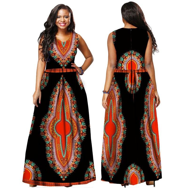 febd6ff3ff African Dresses for Women 2019 Ankle Length Dashiki African Prints Dresses  Bazin Rich Sleeveless Evening Dresses Ankara Dresses