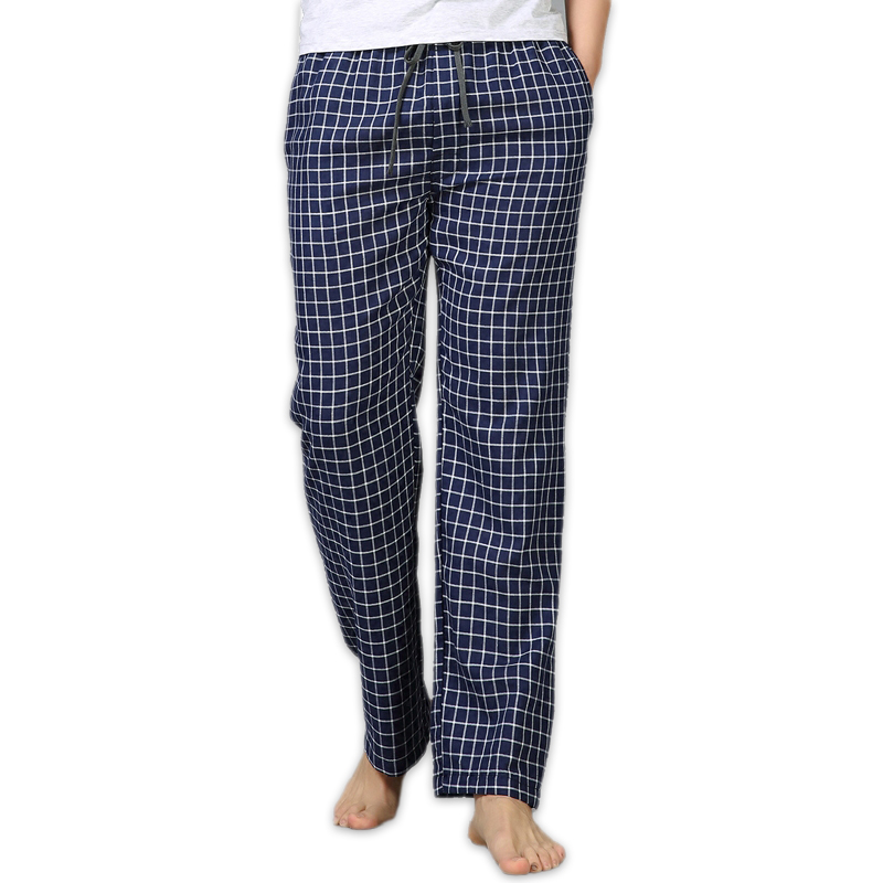 Summer 100% cotton sleep bottoms mens simple pajama sleepwear pants for male sheer mens pants casual plaid home trousers