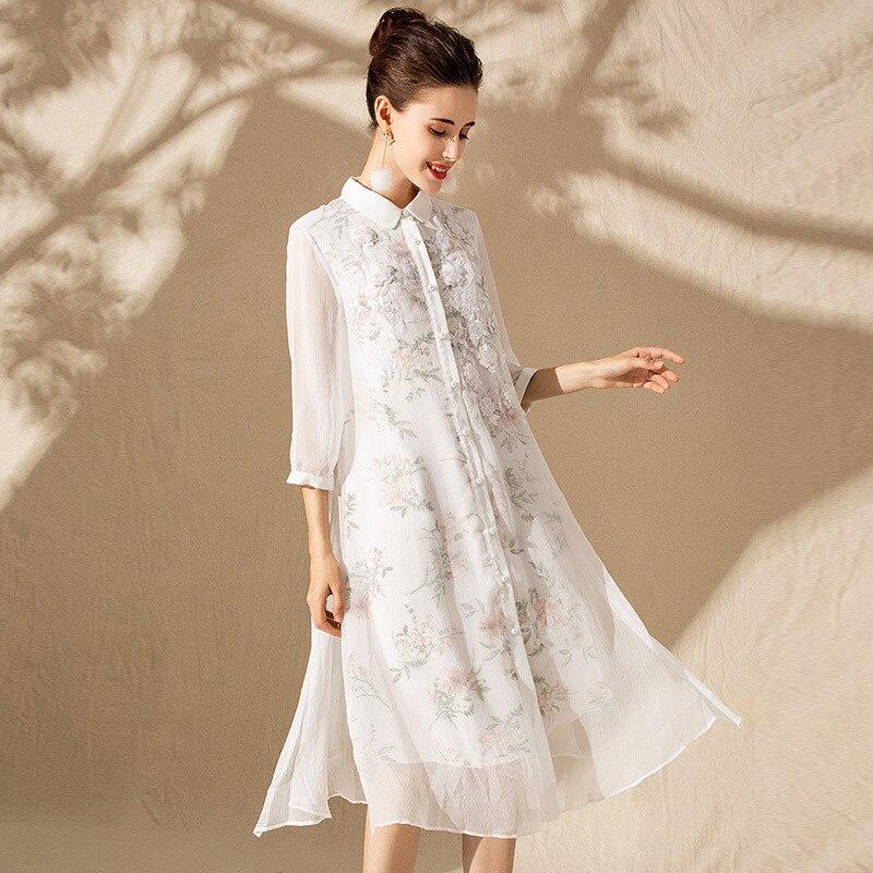 Soie floral grande taille robe d'été femmes s sexy club rétro plage boho chemise robes longues 2019 dentelle blanche broderie fleur