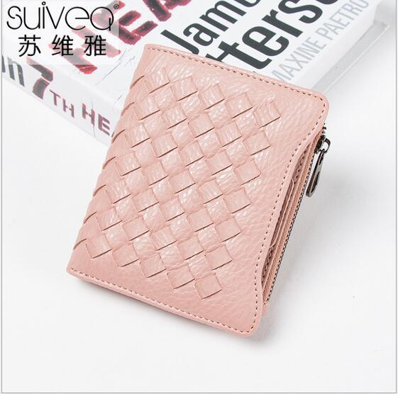 Free shipping twenty percent female paragraphs short ultra-thin zippers buckle woven key bag fashion trends change purse
