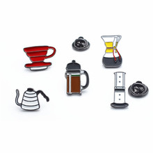 Coffee-Brooch French-Press-Accessories Barista V60 for Gifts Creative Fuuny