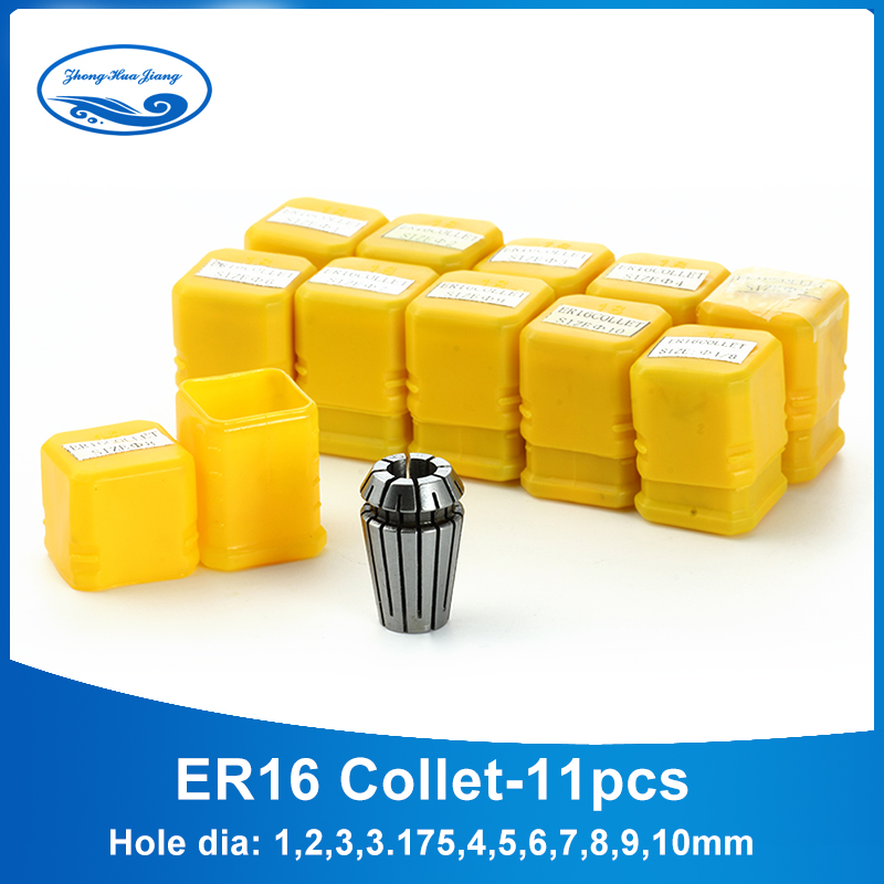 ER16 set Spring Collet Chuck Clamping 11pcs from 1mm-10mm ER16 Spring Chuck collet for ER Collet Chuck A010B machinery tool er20 10 10 9mm clamping range spring collet chuck