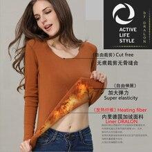 DRALON women long johns velvet inside long sleeves skirt, thermal tops female Stretch Warm Underwear Set, plus size