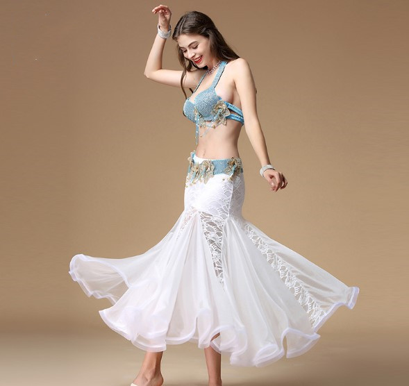 NEW Luxury Beading Professional Belly Dancing Costumes 2PCS D Cup Bra+Skirt XL