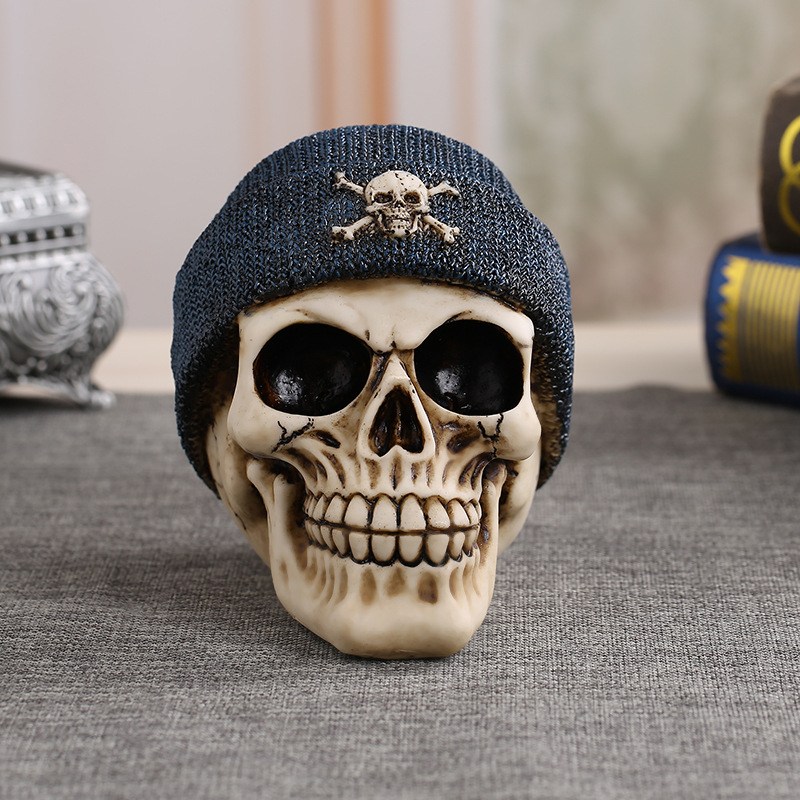 MRZOOT Plush Hats Resin Craft Home Decorations Skeleton Skull Model Punk Style Decoration Personalized Ornaments