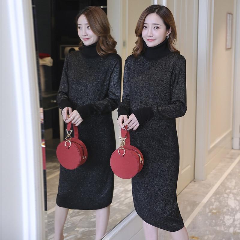 e149d34e7338b Autumn Winter Thicken Knitted Pregnancy Clothes Dress Fashion Korean High Neck  Elegant Maternity Dresses for Pregnant Women 2019 - aliexpress.com - imall.  ...