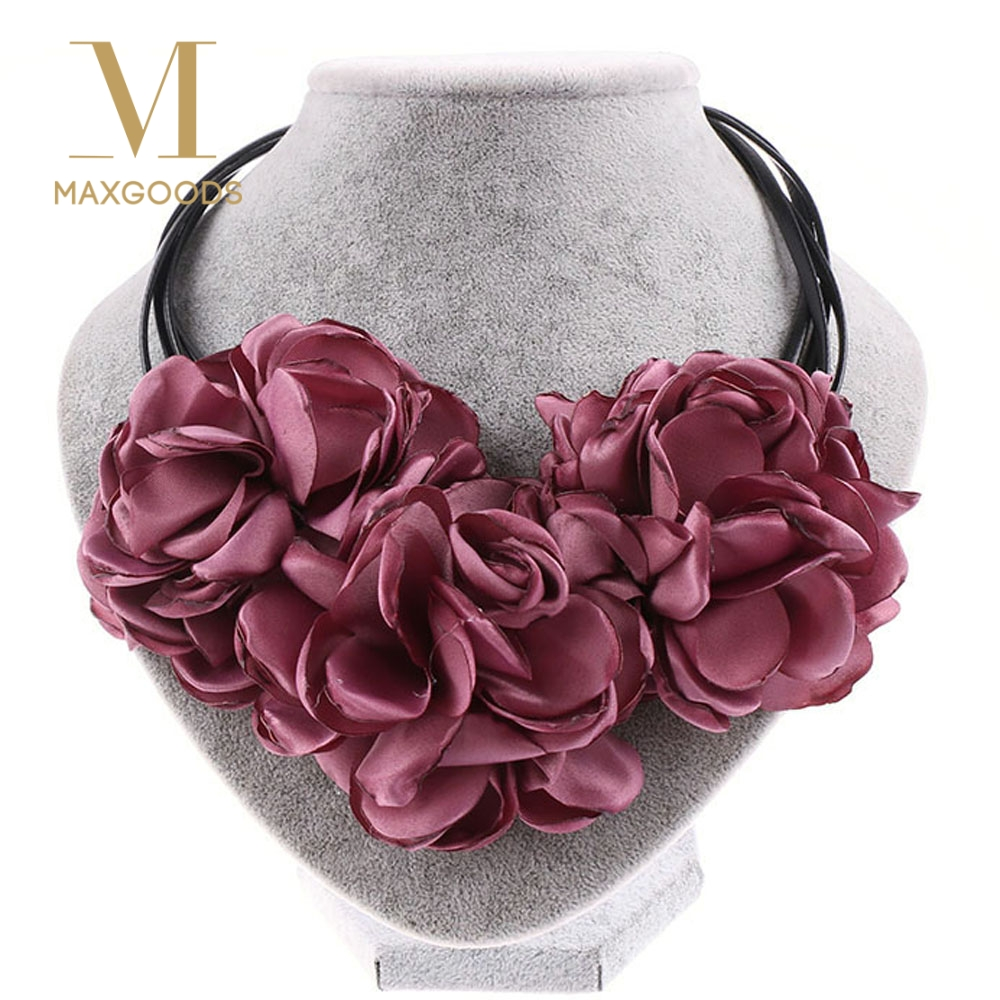 1 Pcs Fashion Bohemia Fabric Rose Flower Choker Necklace Vintage Women Statement Necklace