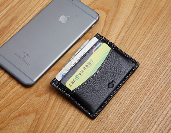 LAN genuine leather mens credit card holder handmade small coin purse bank card case ID holder