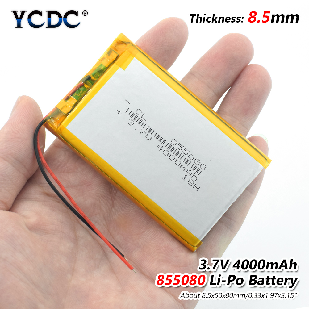 3.7v li po li-ion batteries 3 7 v polymer Rechargeable battery 855080 4000mAh For MP4 MP5 Tablet GPS DVD PDA MID BT Speaker