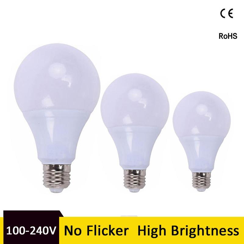 Led Bulb E27 Led Lamp B22 3w 5w 7w 9w 12w 15w Constant Current Ac 85-265v 127v 220v No Flicker Led Light Bulb