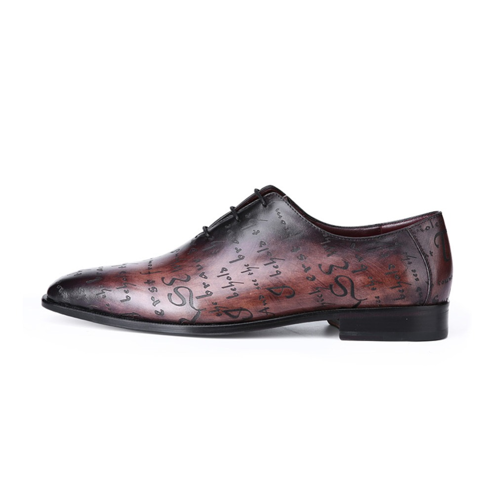 TERSE_Vintage leather dress shoes mens handmade goodyear welted oxford shoes with engraving patina flat shoes custom service