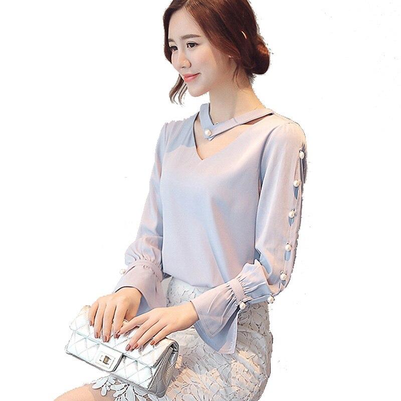Spring Summer 2017 Tops Chiffon Blouse Women Pearl Beading Shirts Elegant Office Ladies V Neck Blouses
