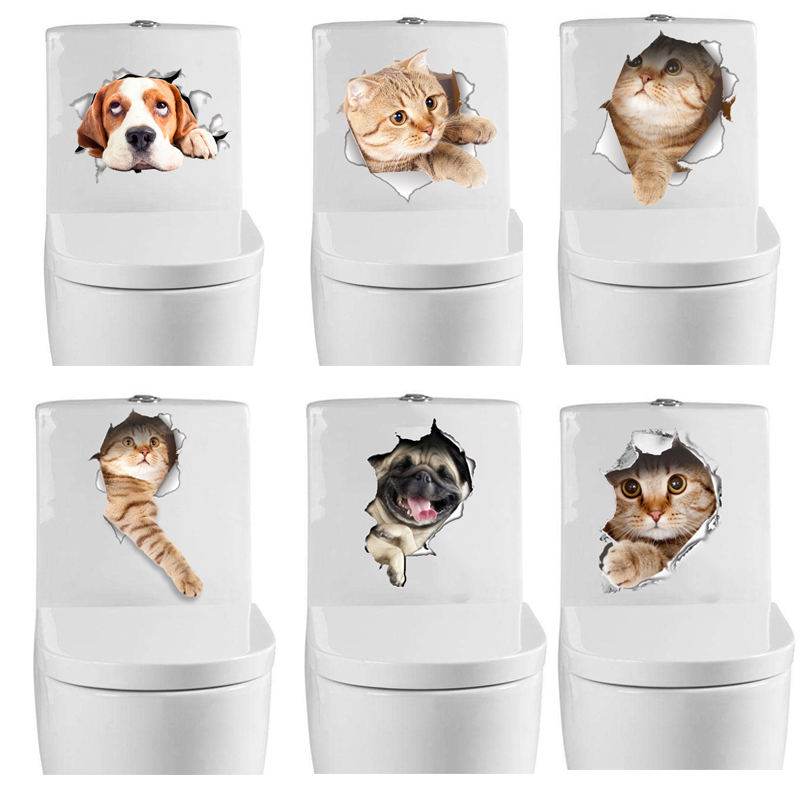 3D Cats Wall Sticker Toilet Stickers Vivid Dogs Bathroom Home Decoration Animal Vinyl Decals Art WC Paste Mural