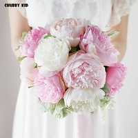 Nice ! 2018 new Hi Q artificial Peony Bride Flowers Wedding Bouquet Bridal Bouquets pink color for wedding party Ramo De Peonias