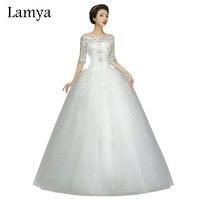 Princess Half Lace Sleeve Vintage Boat Neck Wedding Dress 2016 Cheap Plus Size Bride Gown Dresses