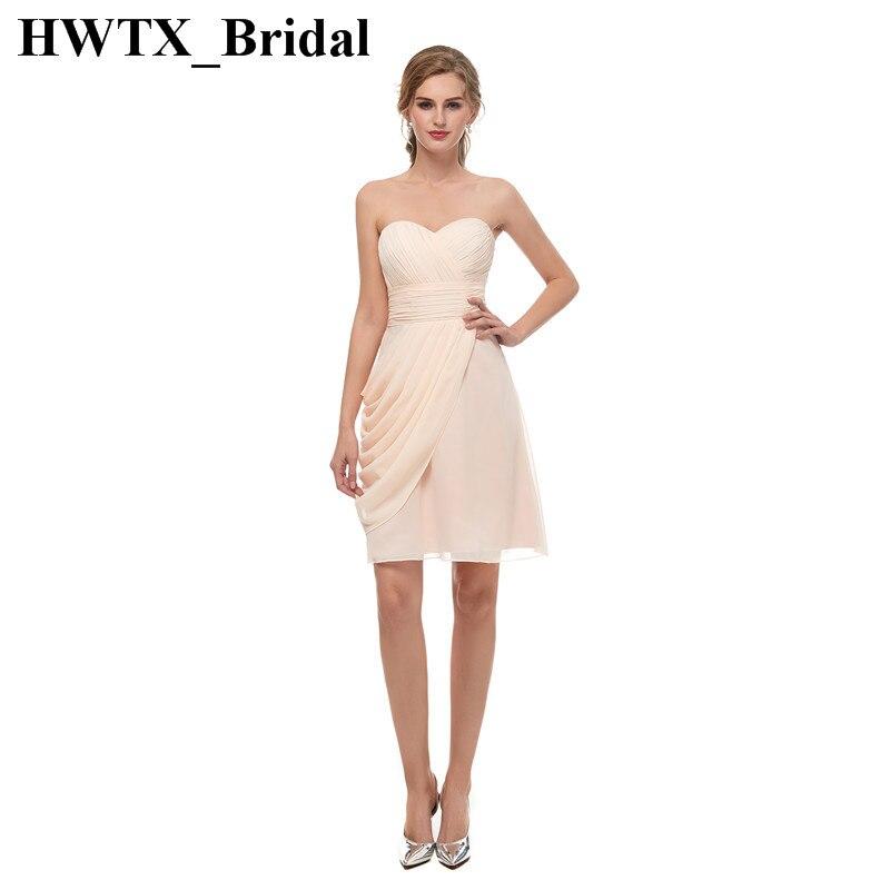 Cheap Short   Bridesmaid     Dresses   For Weddings 2018 Ruffled Chiffon Knee Length Vestido de festa Juniors Plus Size Formal Gowns