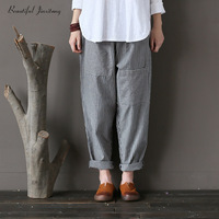 Women Harem Dresses Large Size Loose Casual Grey Striped Linen Pants Female Fashion 2018 Patchwork Pockets