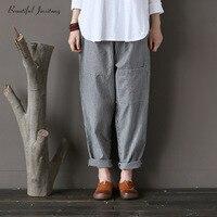 Women Harem Dresses Large Size Loose Casual Grey Striped Linen Pants Female Fashion 2018 Patchwork Pockets