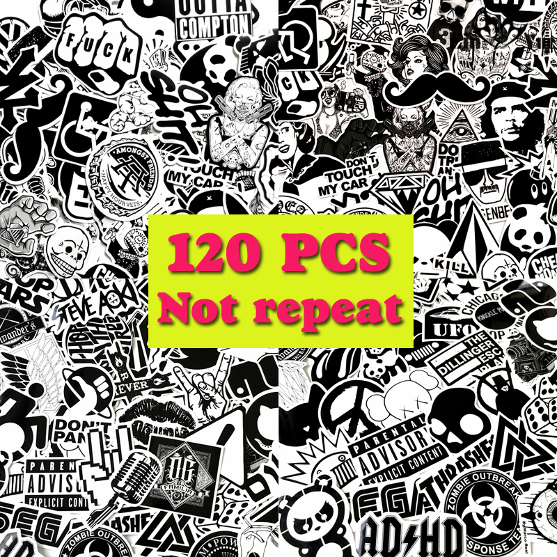 120pcs/lot blcak&white car-covers stickers waterproof home decor laptop motorcycle bike travel case jdm decal Car accessories
