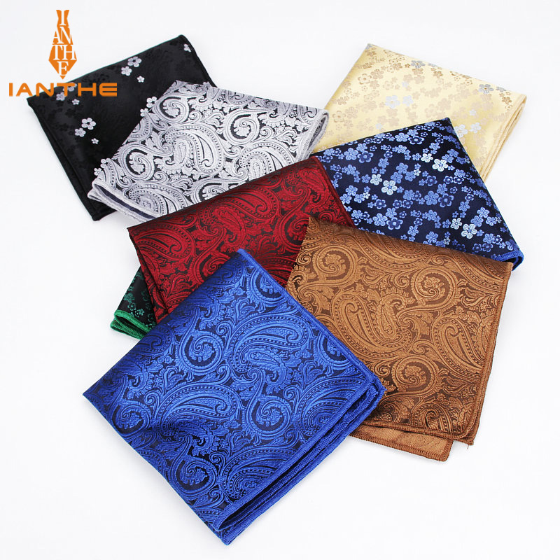 Brand Paisley Silk Handkerchiefs Mens Flower Pattern Hanky Mens Casual Square Pockets Handkerchief Wedding Fashion Hankies Towel